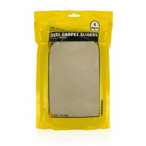 Oval Carpet Furniture Sliders 9-1/2″ x 5-3/4″ 4-Pack in Resealable Bag