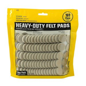 Heavy Duty Self Adhesive Furniture Felt Pads 1-Inch Round Oatmeal 160-Piece Value Pack in Resealable Bag