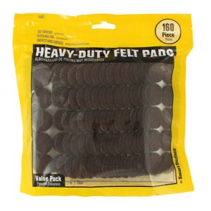 Heavy Duty Self Adhesive Furniture Felt Pads 1-Inch Round Brown 160-Piece Value Pack in Resealable Bag
