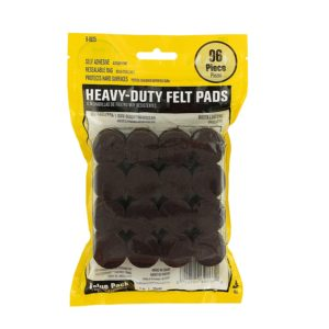 Heavy Duty Self Adhesive Furniture Felt Pads 1-Inch Round Brown 96-Piece Value Pack in Resealable Bag