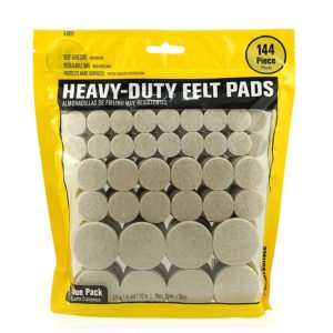 Heavy Duty Self Adhesive Furniture Felt Pads 3/4-Inch, 1-Inch & 1-1/2-Inch Round Oatmeal 144-Piece Value Variety Pack in Resealable Bag