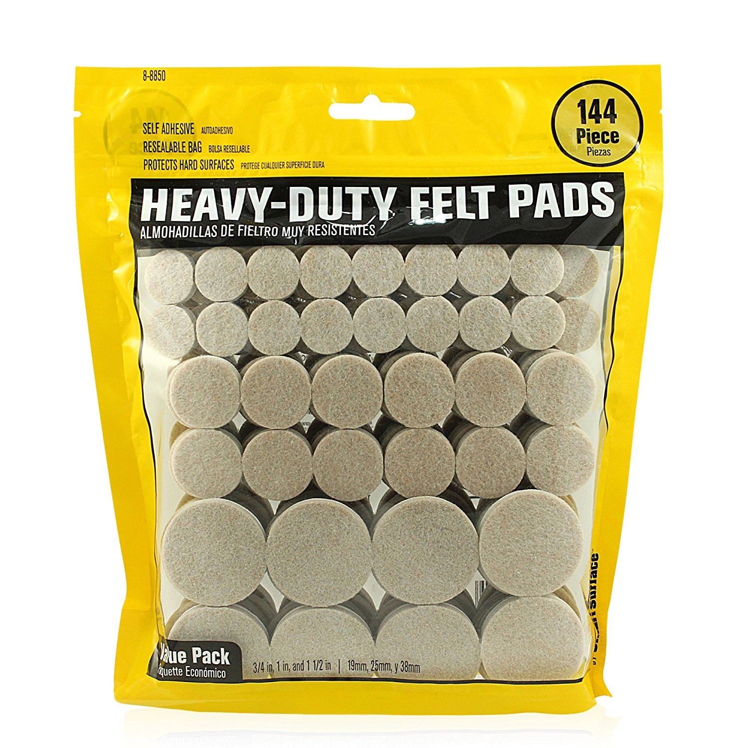 Heavy Duty Self Adhesive Furniture Felt Pads 3 4 Inch 1 2 Round Oatmeal 144 Piece Value Variety Pack In Resealable Bag Smart Surface