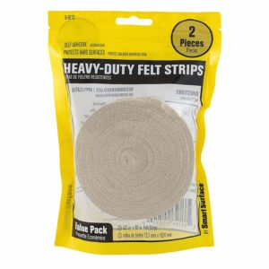 Heavy Duty 1/2-Inch by 60-Inch Self Adhesive Furniture Felt Strips Oatmeal 2-Piece Value Pack