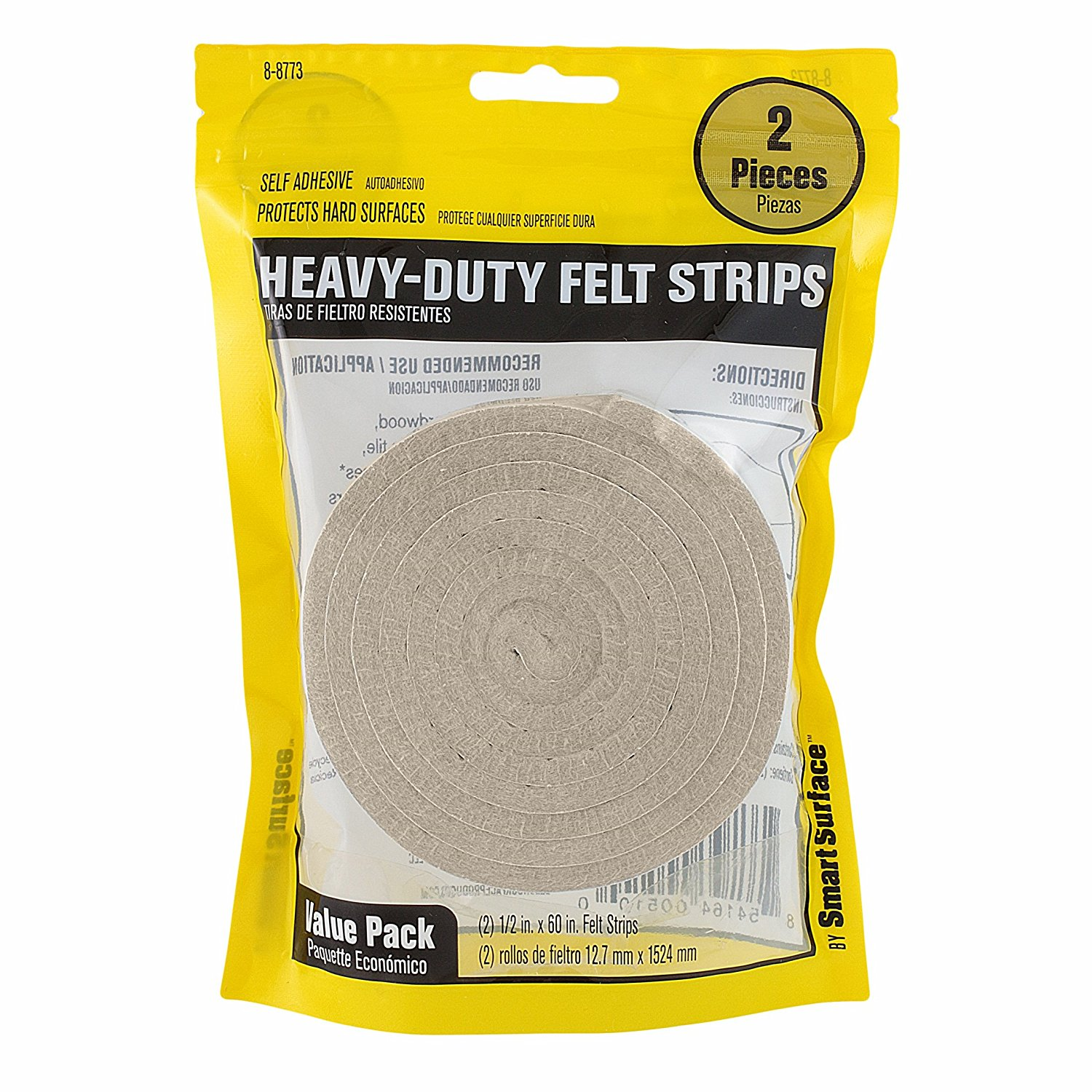 Heavy Duty 1 2 Inch By 60 Self Adhesive Furniture Felt Strips Oatmeal Piece Value Pack Smart Surface