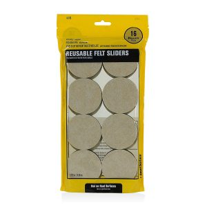 Hard Surface Reusable Furniture Felt Sliders 2-1/2″ Round 16-Pack in Resealable Bag