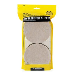Hard Surface Reusable Furniture Felt Sliders 5″ Round 8-Pack in Resealable Bag