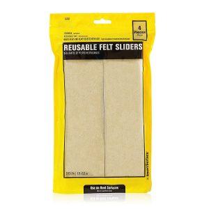 "Hard Surface Reusable Furniture Felt Sliders 9″ x 2-1/2"" Rectangle 4-Pack in Resealable Bag"